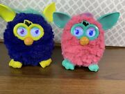 Hasbro 2012 Furby Blue/yellow And Pink/mint W/ Digital Eyes Both Work Great