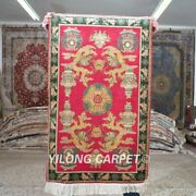 Yilong 2and039x3and039 500lines Handmade Silk Area Rug Red Dragon Tapestry Carpet 571h