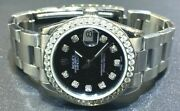Rolex Datejust Stainless Steel 2.00ct Diamond Bez 31mm Black Diamond Dial 68240