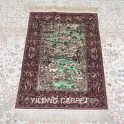 Yilong 2and039x3and039 500lines Handmade Silk Area Rug Home Decor Tapestry Carpet 577h