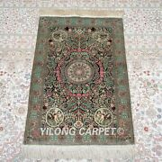 Yilong 2and039x3and039 500lines Handmade Silk Area Rug Classic House Tapestry Carpet 580h