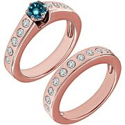 1.25 Carat Real Blue Diamond Channel Promise Wedding Ring Band 14k Rose Gold