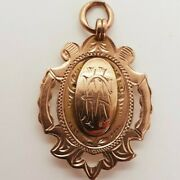 A George V 9ct Rose Gold Gold Fob / Pendant / Medal For Watch Chain - 1911