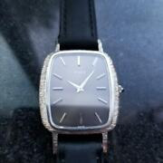 Mens Piaget 29mm Solid 18k Solid White Gold 1970s Manual Wind Swiss Watch Lv852