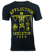 Affliction Skeleton Crew Menand039s T-shirt Black Lava