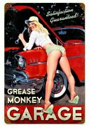 Grease Monkey Garage Tin Sign Bel Air Mopar Ford 57 Chevy Gm Bow Tie Nomad