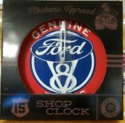 Open Road Brands Ford V-8 Genuine Parts Auto Metal Shop Clock 15 New Great Gift