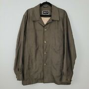 Pier 91 Xci Lightweight Jacket Mens Sz L Brown Lined Button Front Poly Viscose