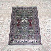 Yilong 2and039x3and039 500lines Handwoven Silk Area Rug Hanging Tapestry Home Carpet 581h