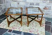 Pair Lane Adrian Pearsall Era Silhouette Glass Top End Table Mid Century Mod