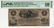 Argentina 1870 1 Peso Pmg Certified Banknote Very Good Vg 10 Cnbb Pick S1661a