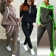 Women Hoody Tracksuits Set Lounge Wear Top Pants Sports Outfits Suit Plus Size M