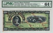 Mexico 1885-1913 20 Pesos Pmg Certified Banknote Unc 64v Overprint Abnc S259r