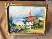 Willard M. Mitchell Canadian Watercolor Carved Frame Miniature