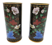 Vintage Pair Burgundy And Black Asian Cloisonne Cylinder Vases Chinoiserie