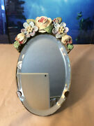 Antique Barbola Mirror W/easel Excellent Condition Gesso Beveled Glass
