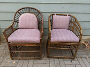 Vintage Brighton Pavilion Vintage Rattan Bamboo And Cane Arm Chair Set Of Two