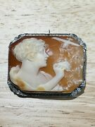 Museum Grade Antique Lady And Spirit Of St. Louis 14kt Gold Carved Cameo Pin