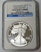 Ngc Pr69 Ultra Cameo 2014-w American Silver Eagle Early Releases Silver Dollar