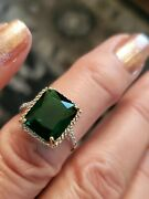 4.70 Ct Russian Emerald And Diamond 10kt Solid Yellow Gold Ring Size 7
