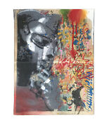 Mf Doom 4 Layer Stencil/spray Paint On Comic Book Page Kaws Obey Banksy