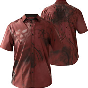 Affliction Menand039s Short Sleeve Button Down Shirt Hellish Red Embroidered Biker S-