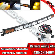 Curved Led Work Light Bar 240w 43inch Cree 10w Ledand039s 12v 24v 4x4wd Offroad Truck