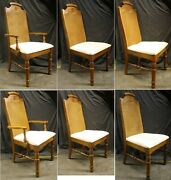 Set 6 Vintage Antique Old Broyhill Solid Wood Wooden Dining Side Chair Armchair