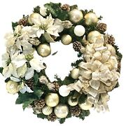 """Christmas Poinsettia Wreath Gold White Ivory Shatterproof Ornaments 30"""" Outdoor"""