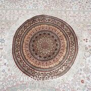 Yilong 2and039x2and039 Round 600lines Tapestry Circular Silk Carpet Flower Area Rug 640h