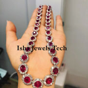 Victorian Natural Rose Cut Diamond And Ruby Quartz 925 Sterling Silver Necklace