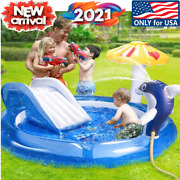74 Inflatable Family Swimming Pool Pvc Outdoor Summer Water Fun Slide 3-4 Kid