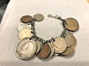 Vintage Foreign Coin Charm Bracelet Pre- And Post-wwii European Coins, 21 Coins
