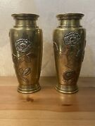 Antique Japanese Mixed Metal Pair Vases Bronze, Copper And Silver Meiji Era