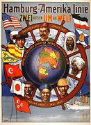 Authentic Hamburg Amerika Linie Poster From 1904 By Kitterlinus