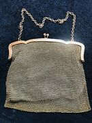 Antique Sterling Silver Mesh Chain Link Purse/ Evening Bag - 282g