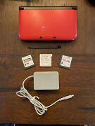 Nintendo 3ds Xl Red/black Console Mario Sonic Zelda Pokémon And Kirby 5 Games