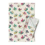 Bird Bohemian Folk Flying Hope Linen Cotton Tea Towels By Roostery Set Of 2