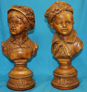 Boy And Girl Statues Bust Set Of 2 - Sailor Victorian 9003 Wood
