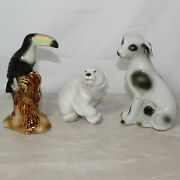 Three Porcelain Toucan Polar Bear And Dog Figurines, Ussr Brazil, No Boxes