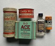 Lot Of 5 Vintage Medical Supplies And Cleaner - All W/ Contents Inside