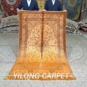 Yilong 4and039x6and039 Yellow Hand Knotted Silk Rugs Tapestry Antique Handmade Carpet 659b