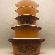 Pyrex Old Orchard Casserole Bowl 5 Piece Set With Lids Usa 471 472 473 474 475