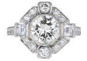 Art Deco 1.40ct Cubic Zirconia Engagement Cluster Rings In 925 Sterling Silver