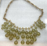 J. Crew Statement Bubble Necklace Gold Tone Yellow Green