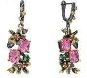 Vintage Flower Style Colorful Antique Zircon Earrings For Women Dating Jewelry