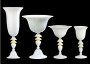 Vase Glasses Bowl And Dish Murano Glass White Made By Hand In Italy