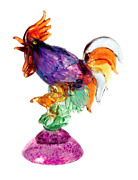 Murano Glass Original Rooster Multi With Base Made Ìn Italy Made By Hand