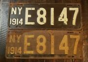 Rare 1914 New York License Plate Matched Pair E8147. Front And Rear Original Paint