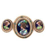 14k Yellow Gold Antique Pendant / Pin And Earring Set- Hand Painted French Enamel